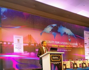 Shiva Mudgil of Rabo Bank India speaking at the 8thSpeciality Films & Flexible Packaging Global Summit 2019