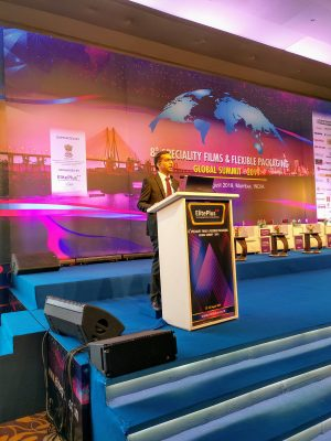 Shiva Mudgil of Rabo Bank India speaking at the 8th Speciality Films & Flexible Packaging Global Summit 2019