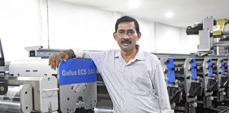 Balai Adhikary, director, Libako Packaging, with the new Gallus ECS 340 flexo press installed in the Ecospace built in the Jalpath in Kolkata Photo: Gallus Ferd. Rüesch
