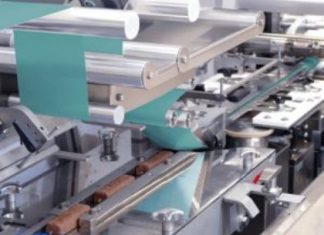 Theegarten-Pactec has refined its FPC5 – a modular high-performance packaging machine for bars in flow packs – so that it can now process paper-based packaging materials Photo: Theegarten-Pactec