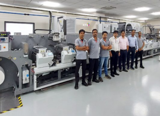 A new Bobst M5 430 press is unveiled at Apex International's state-of-the-art FlexoKITE experience centre in Sinnar near Nashik, India. Photo Apex